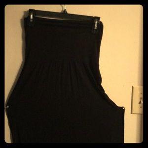 High waisted, thigh split, black skirt